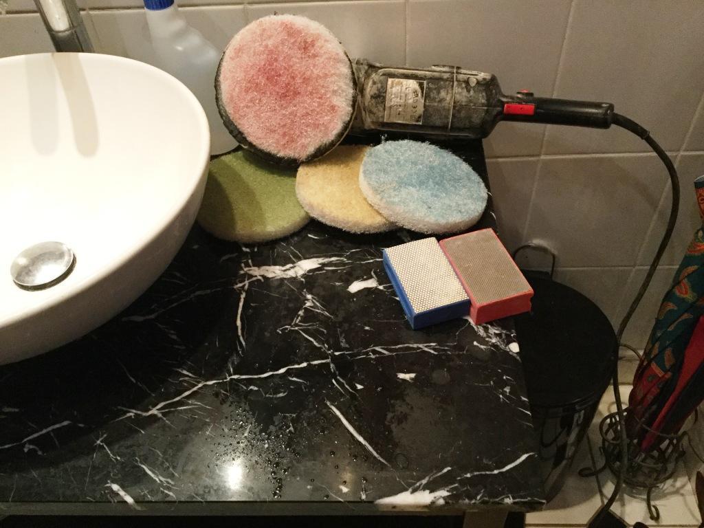 Black Marble Vanity Worktop During Polishing in Northampton