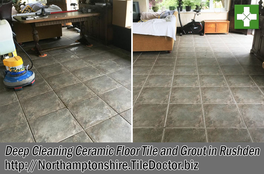 Ceramic Tile Grout Before and After Cleaning in Rushden