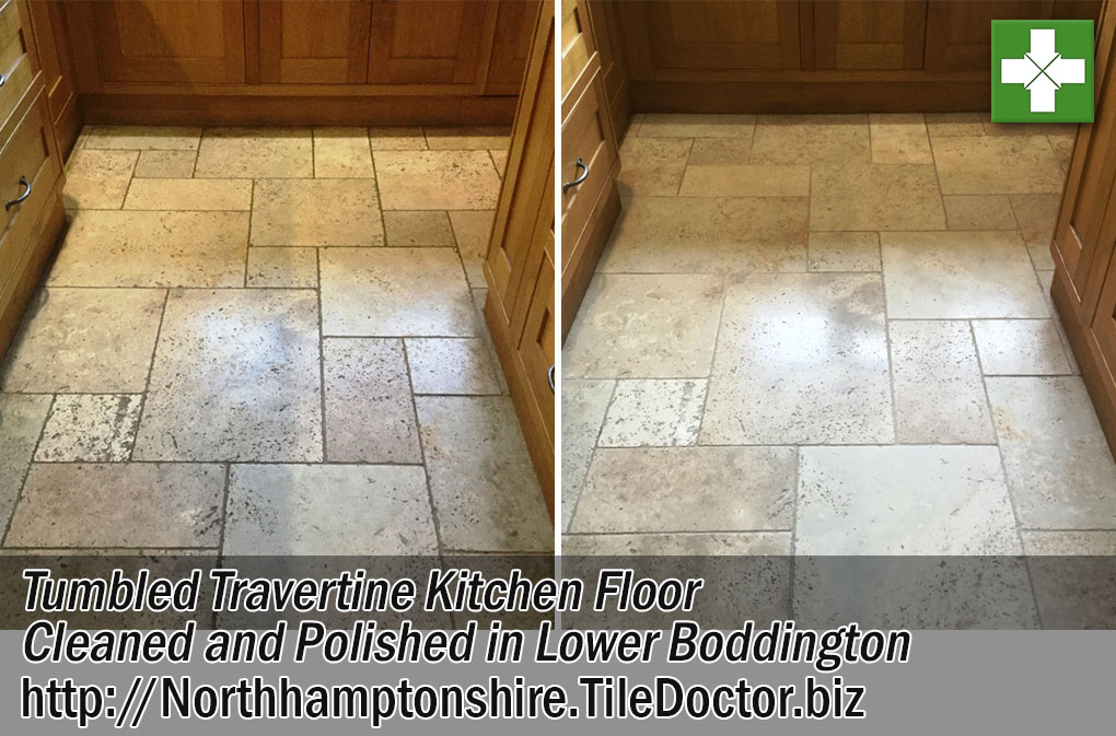 Tumbled Travertine Kitchen Floor Before and After Cleaning and Polishing in Lower Boddington