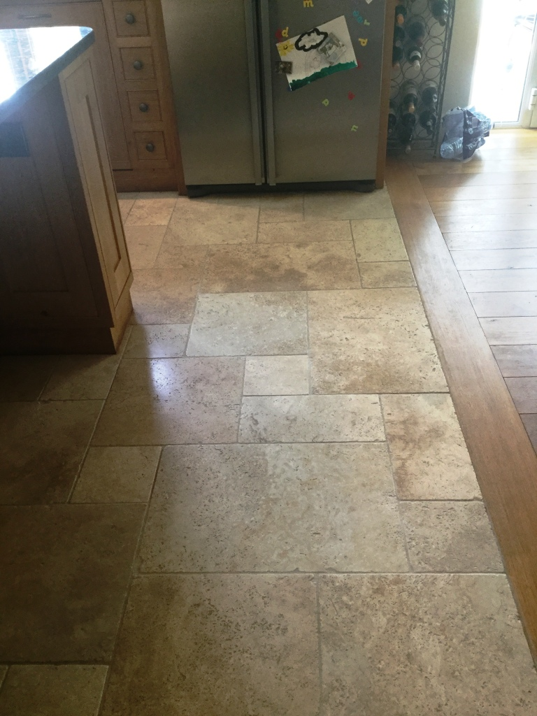 Tumbled Travertine Kitchen floor After Cleaning in Lower Boddington