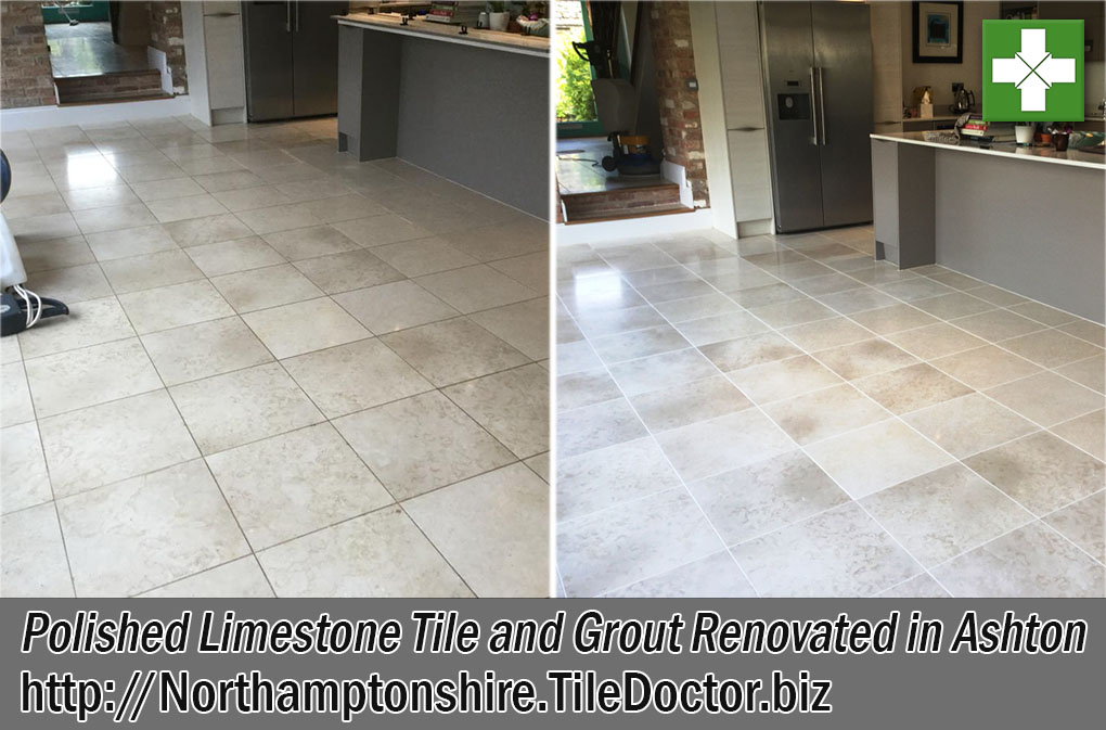 Limestone Tiled Kitchen Floor Before and After Renovation in Ashton