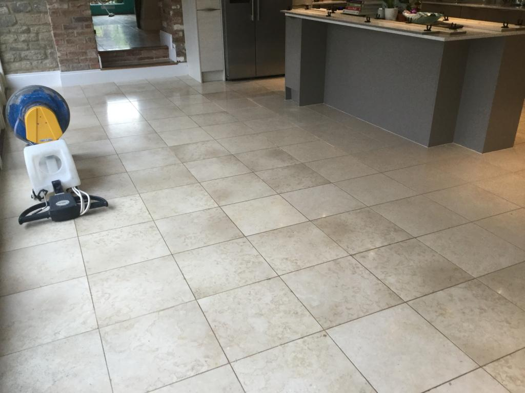 Polished Limestone Floor Before Cleaning Ashton