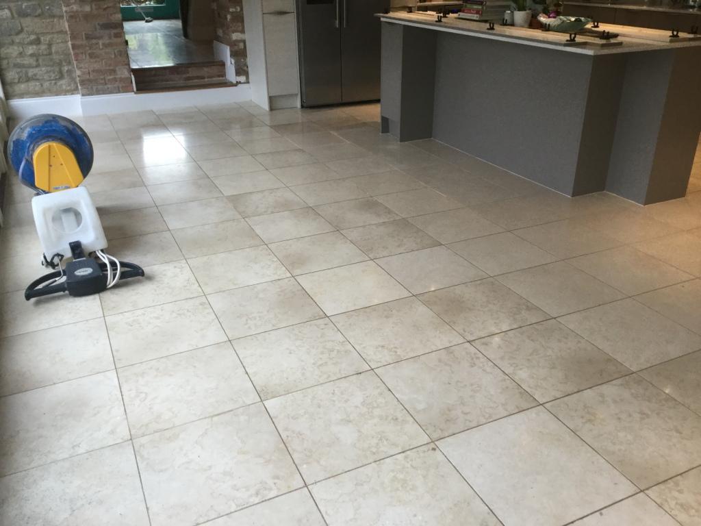 Polished Limestone Floor Before Cleaning Ashton