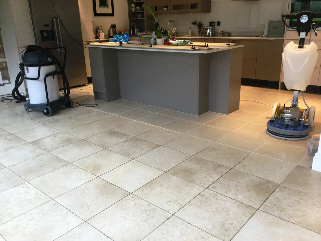 Polished Limestone Floor During Cleaning Ashton