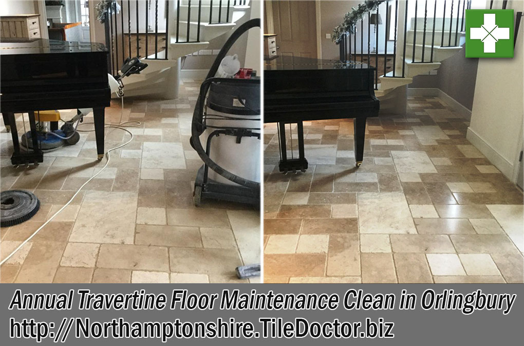 Annual Travertine Tile Before and After Maintenance Clean in Orlingbury