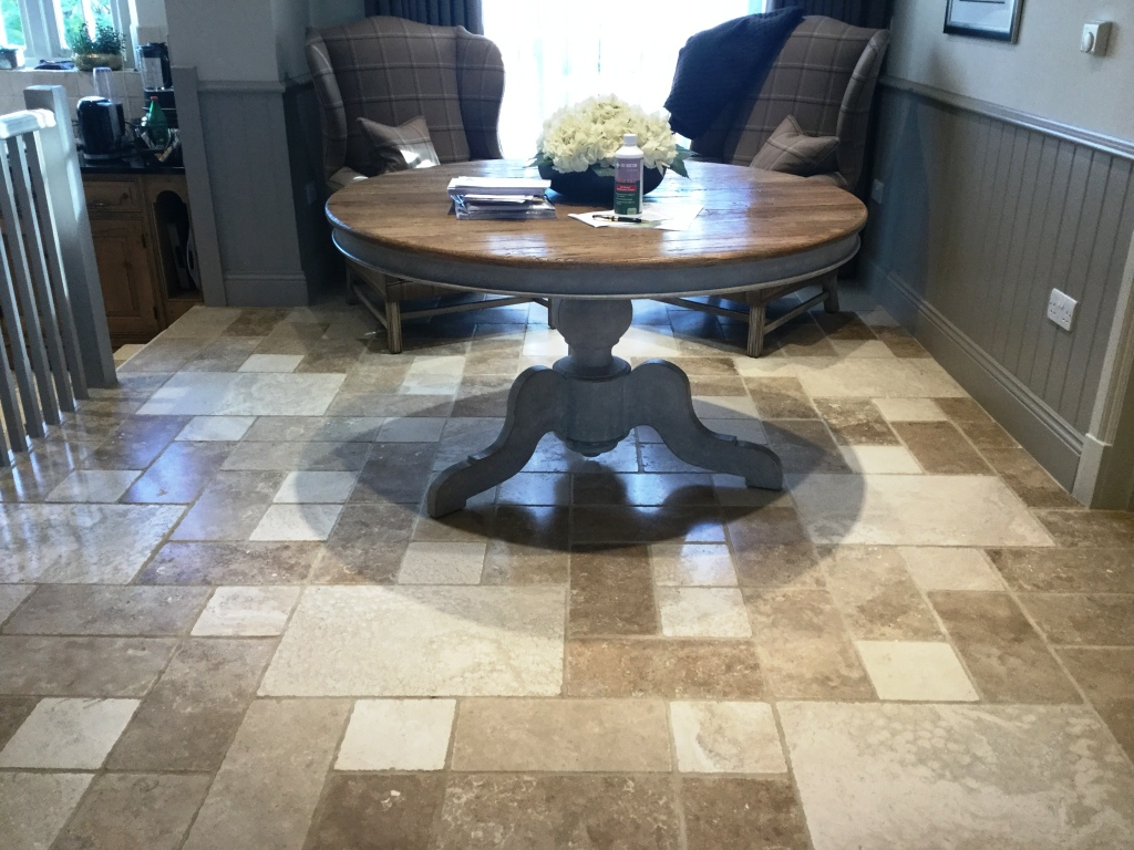 Travertine Tiled Floor Orlingbury After Maintenance