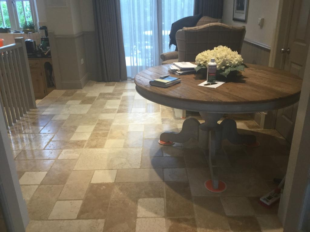 Travertine Tiled Floor Orlingbury Before Maintenance