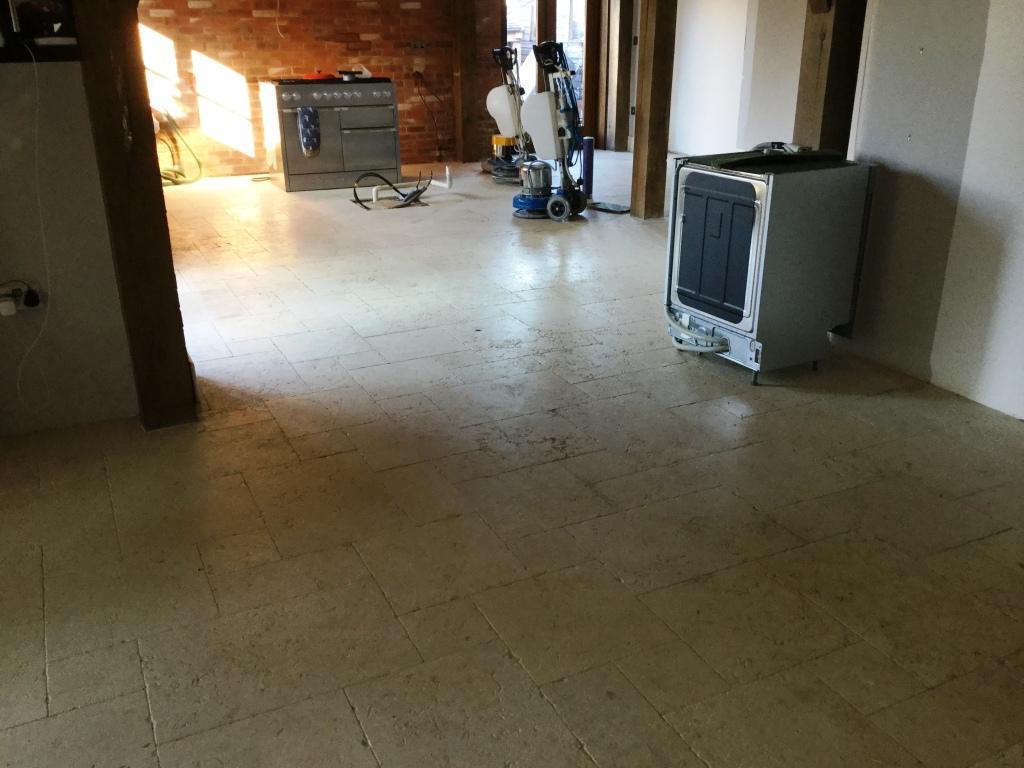 Honed Limestone Floor Before Restoration Upper Boddington