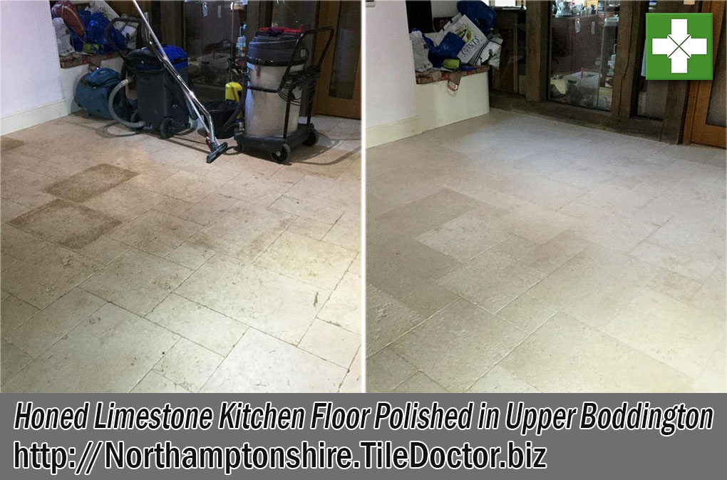 Limestone Tiled Kitchen Before and After Polishing Upper Boddington