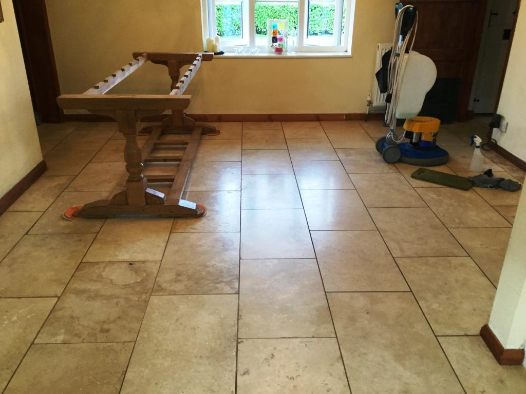 Polished Travertine Dining Room Floor Before Polishing Abthorpe Towcester