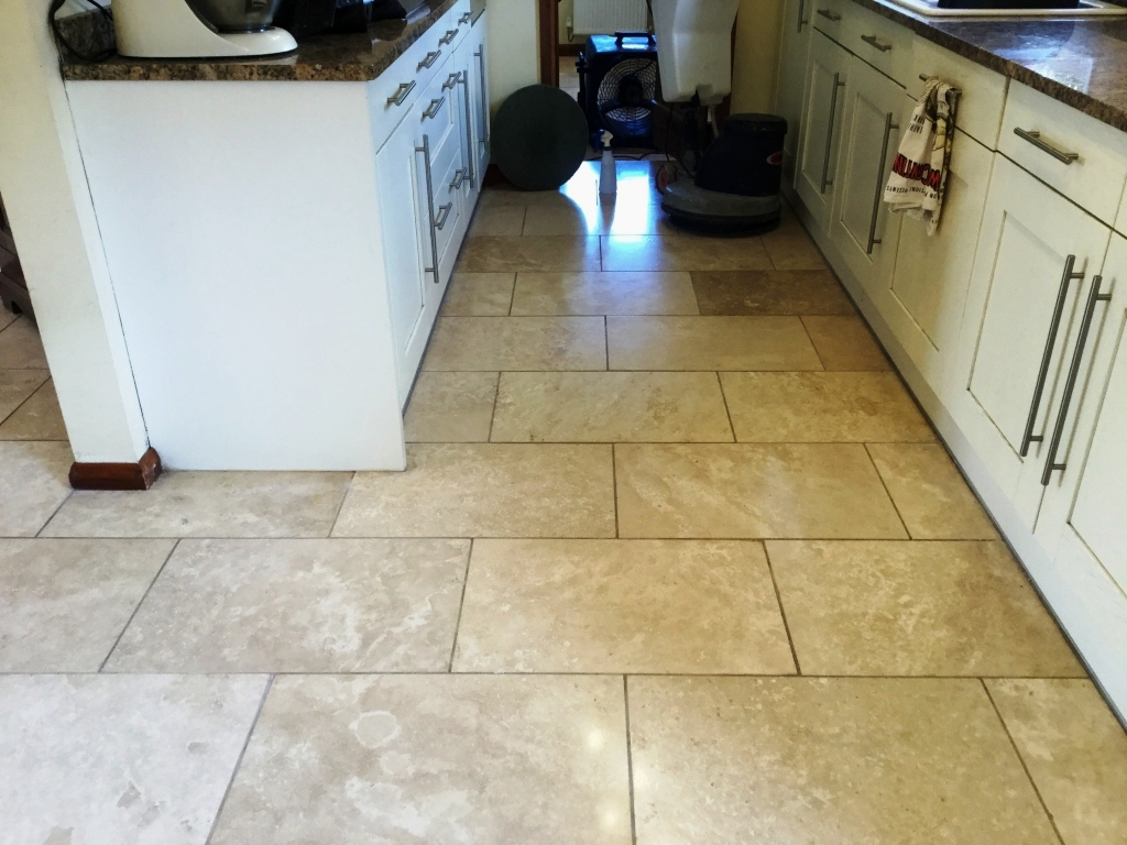 Polished Travertine Kitchen Floor After Polishing Abthorpe Towcester