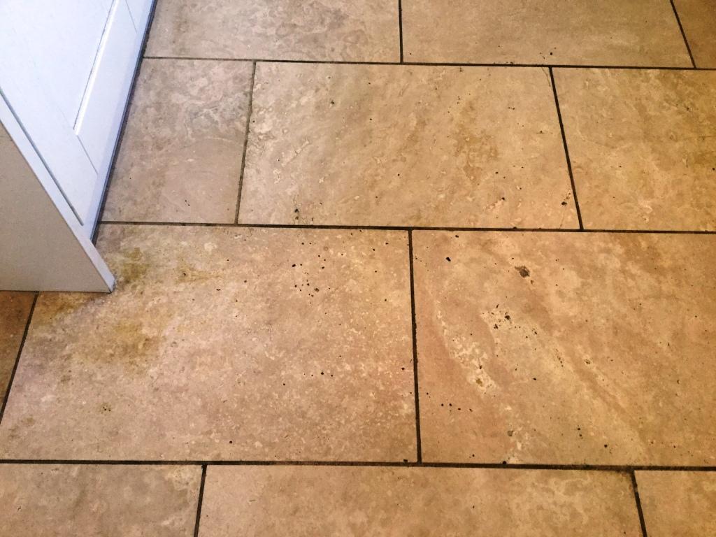 Polished Travertine Kitchen Floor Before Polishing Abthorpe Towcester