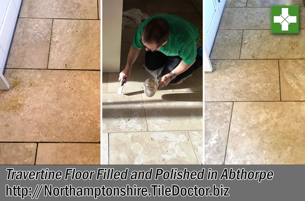 Travertine Tiled Floor Before and After Polishing Abthorpe