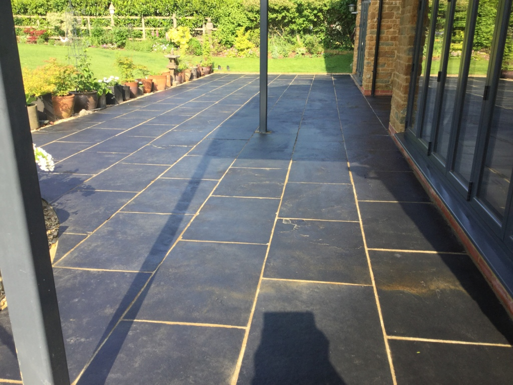 Black Limestone Patio After Cleaning Walgrave
