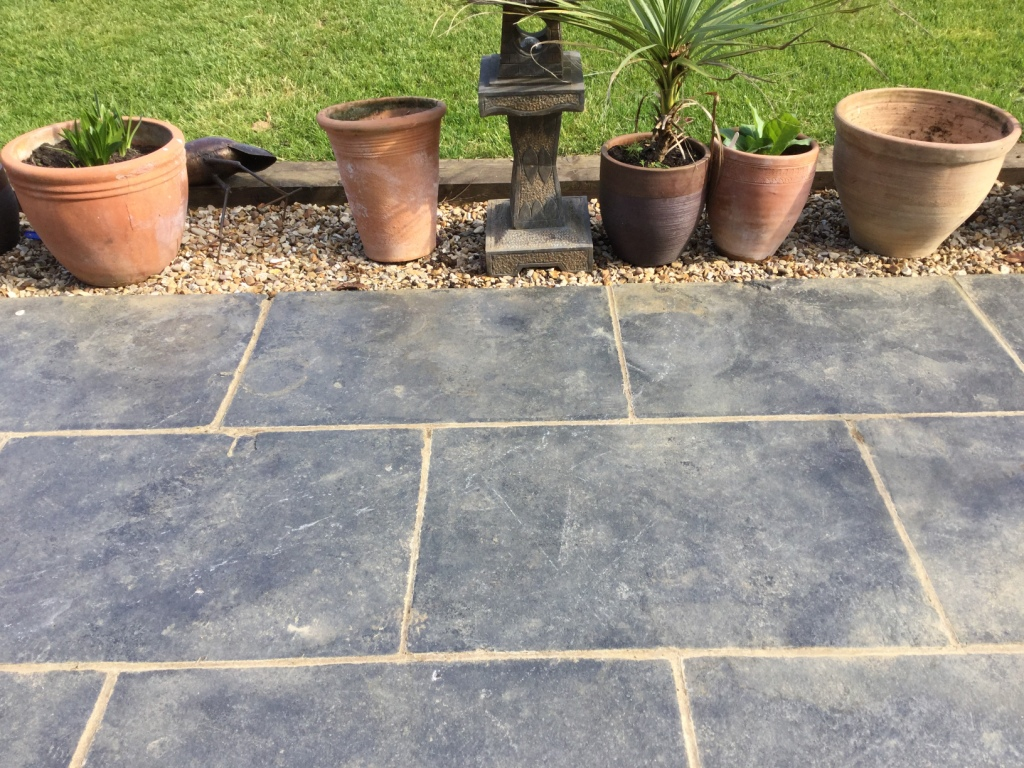 Black Limestone Patio Before Cleaning Walgrave