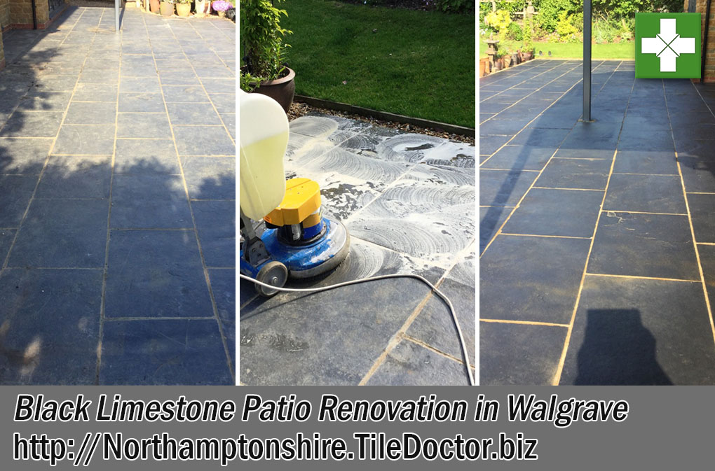 Black Limestone Patio Before and After Renovation Walgrave