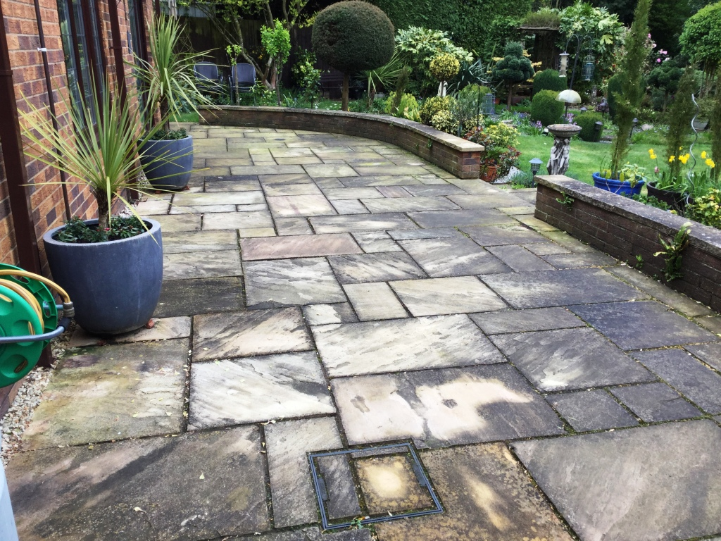 Indian Sandstone Patio Before Cleaning Northampton