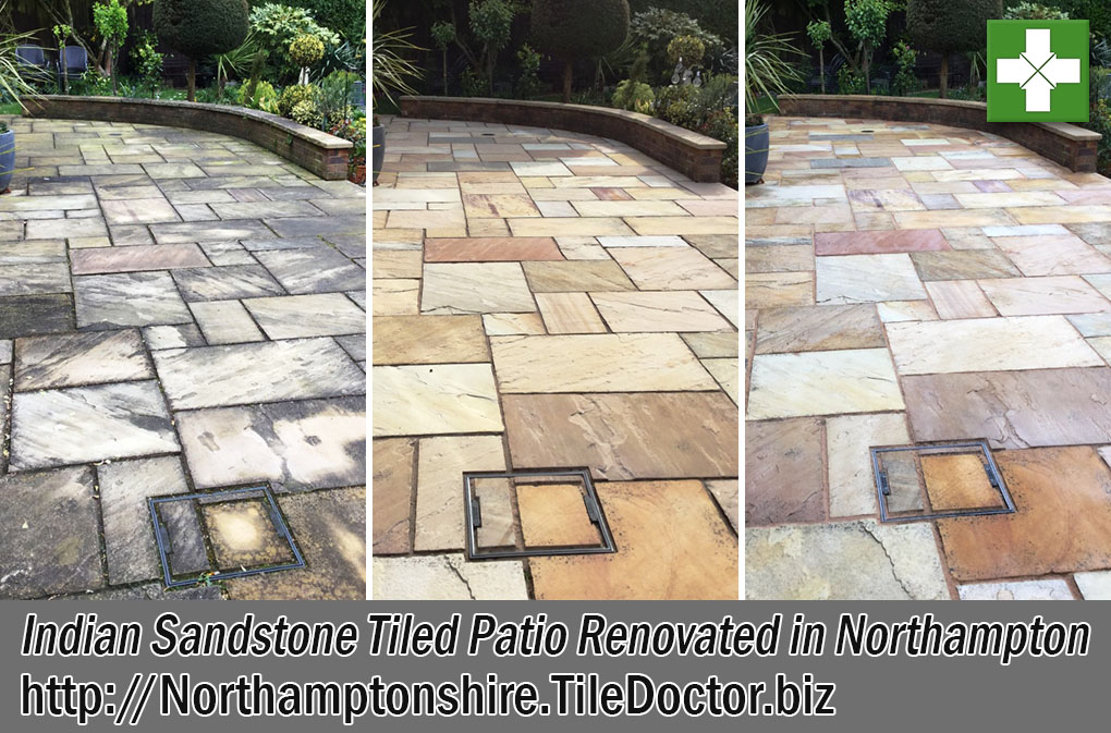 Indian Sandstone Paved Patio Before and After Renovation Northampton