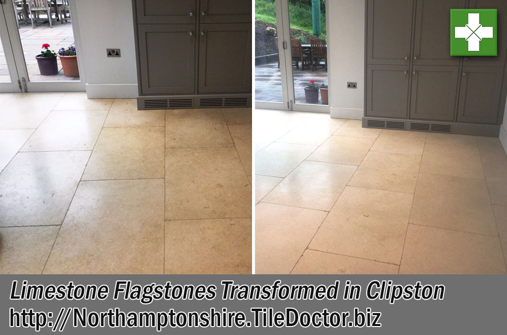 Limestone Flagstones Before and After Renovation Clipston