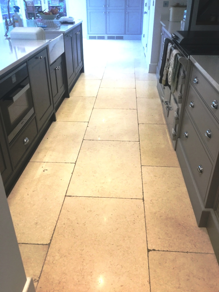 Limestone Floor With Grout Haze After Cleaning Clipston