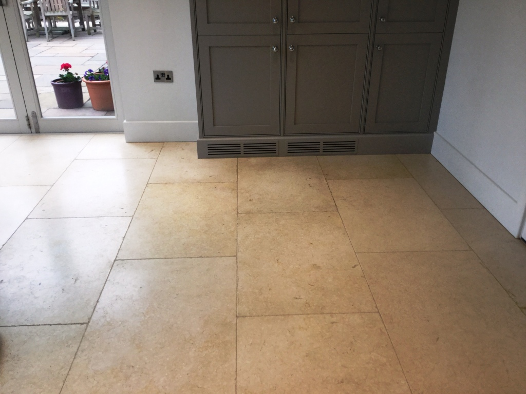 Limestone Floor With Grout Haze Before Cleaning Clipston
