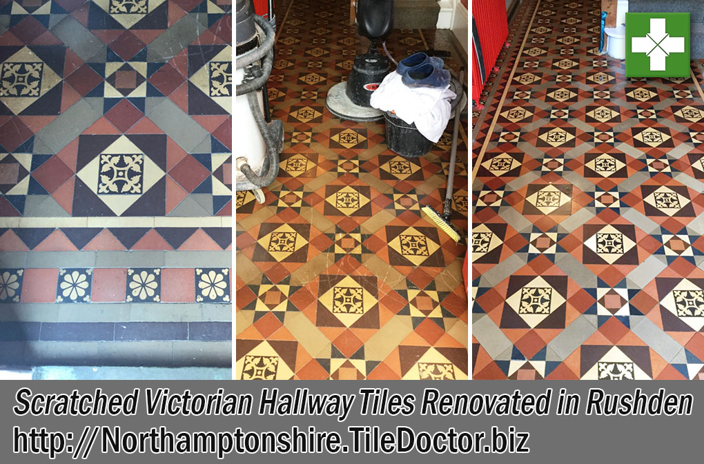 Scratched Victorian Hallway Tiles Before After Renovation Rushden