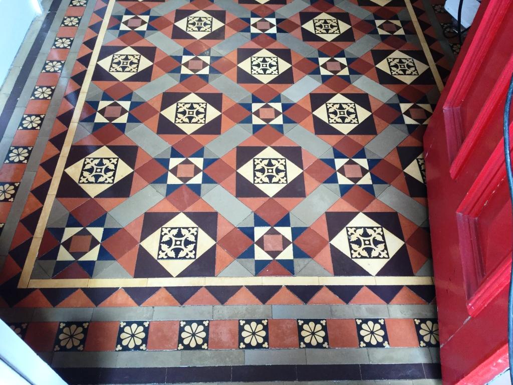 Victorian Tiled Hallway Floor After Cleaning Rushden