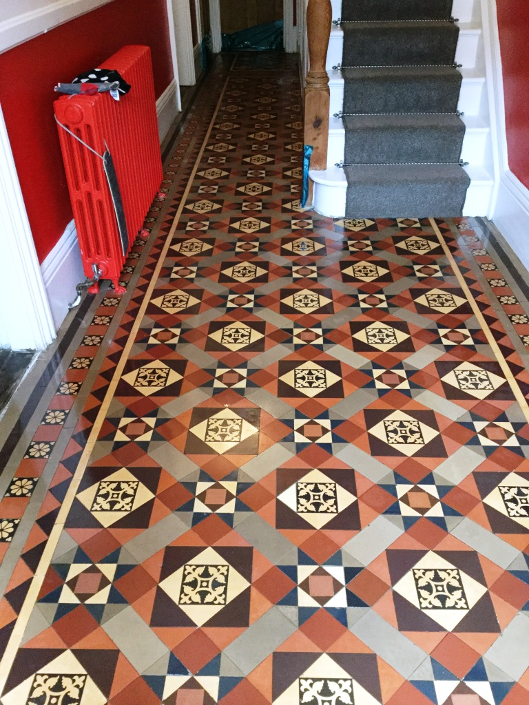 Victorian Tiled Hallway Floor After Cleaning Rushden