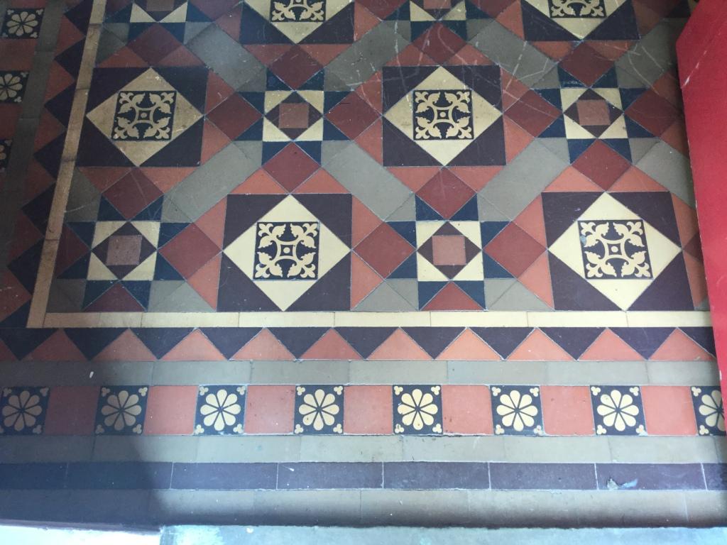 Victorian Tiled Hallway Floor Before Wax Removal Rushden
