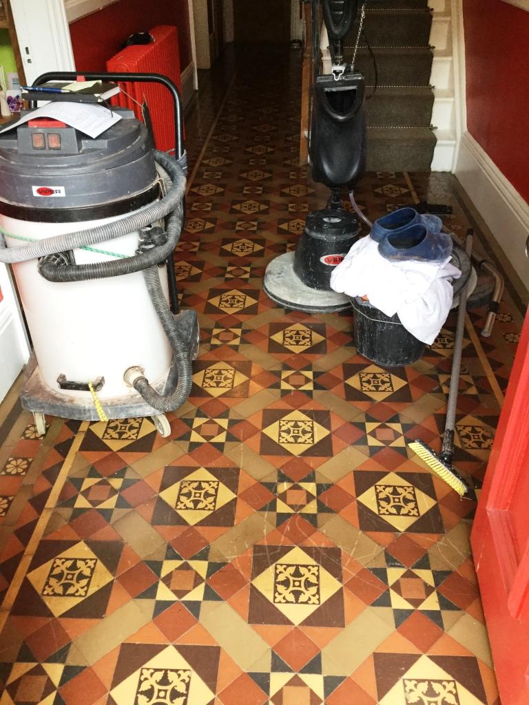 Victorian Tiled Hallway Floor During Wax Removal Rushden
