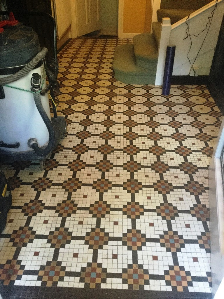 Edwardian Mosaic Tiled Hallway Floor Before Cleaning Abington Park
