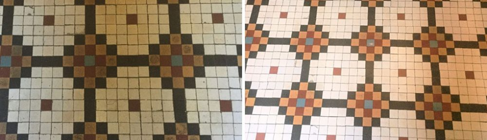 Cleaning 100 Year Old Mosaic Tiles in Abington Park