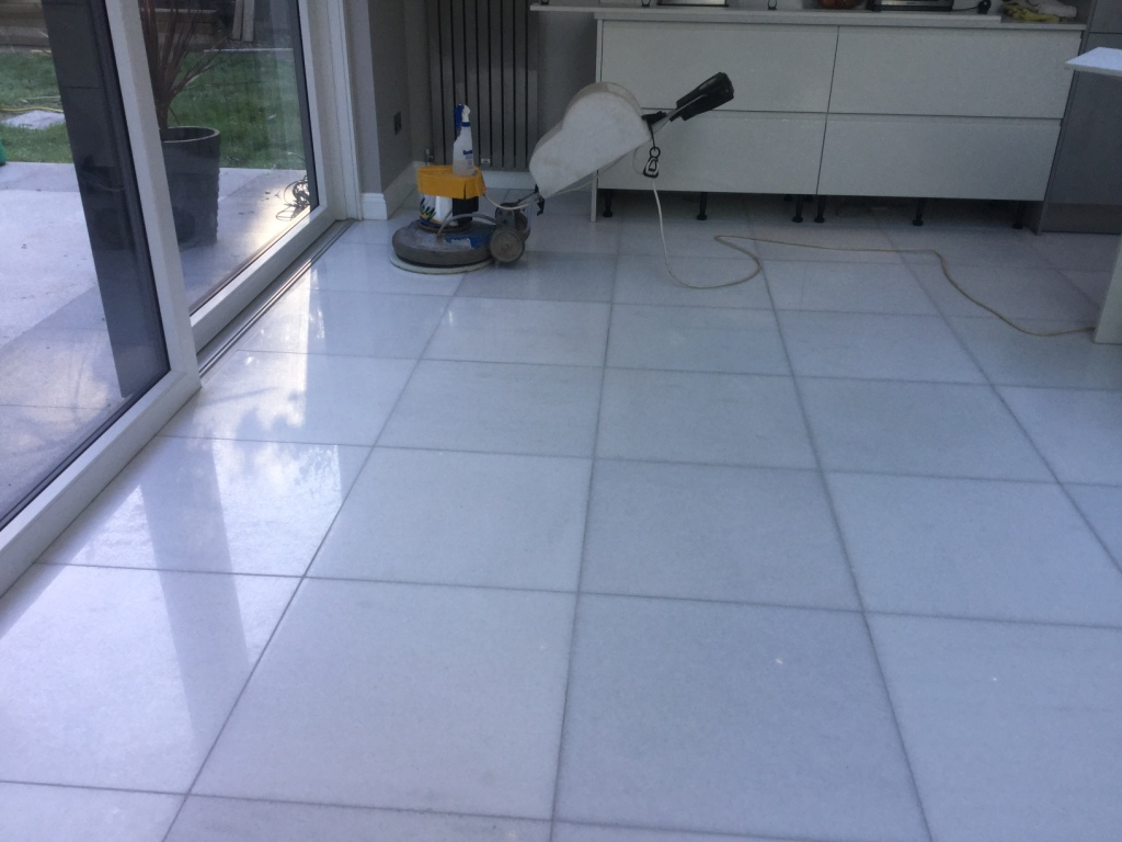 Marble Floor Restoration New Duston During Polishing