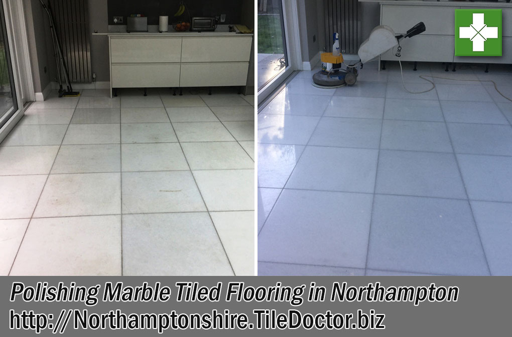 Stained Marble Tiled Floor Before After Polishing Northampton Northamptonshire