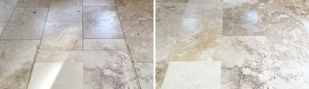 Pitted Travertine Kitchen Floor Tiles Filled and Polished in Weston Favell
