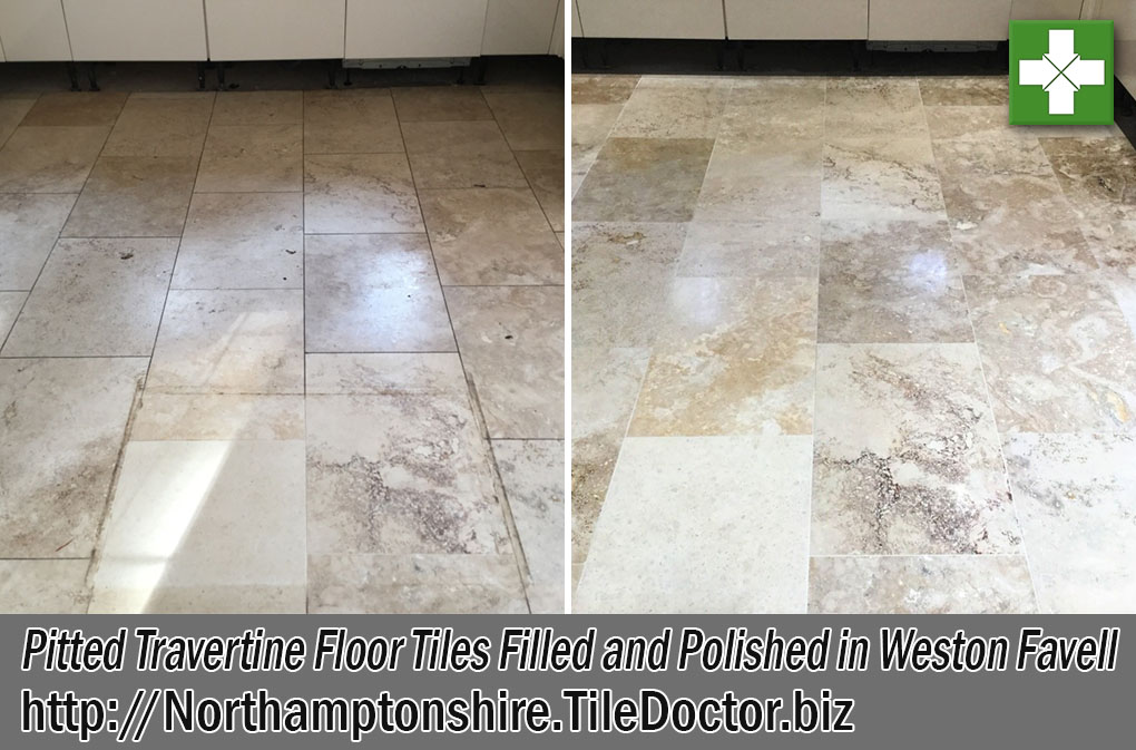 Pitted Travertine Floor Tiles Before After Renovation Weston Favell