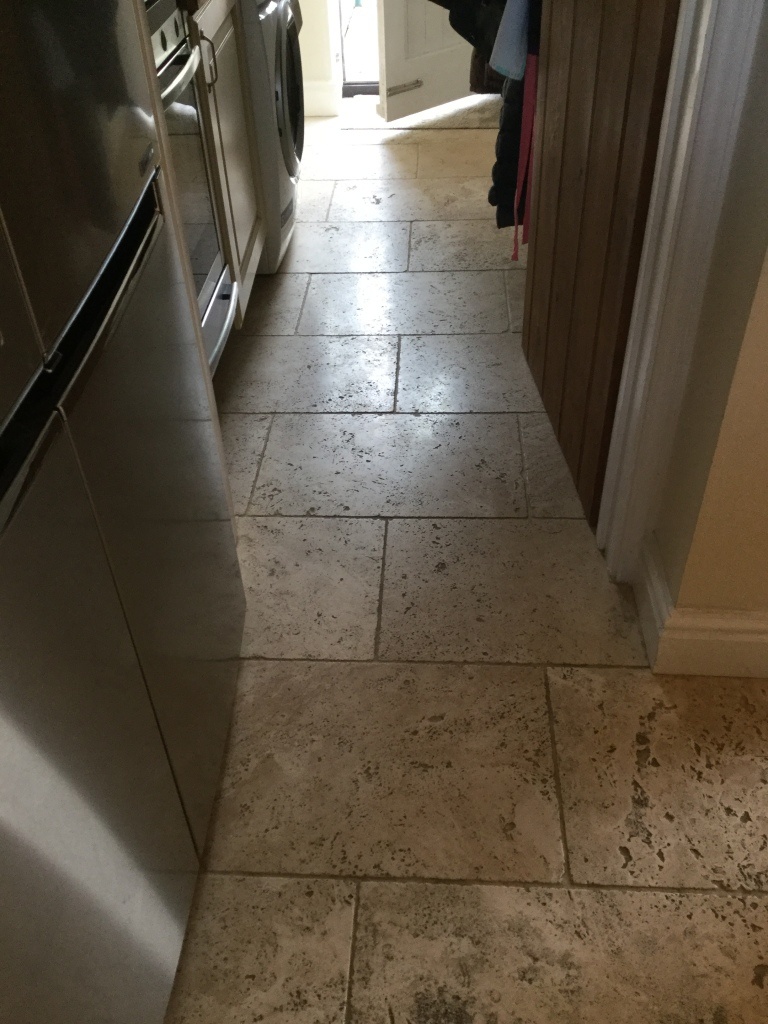Pitted Tumbled Travertine Before Cleaning Braybrooke