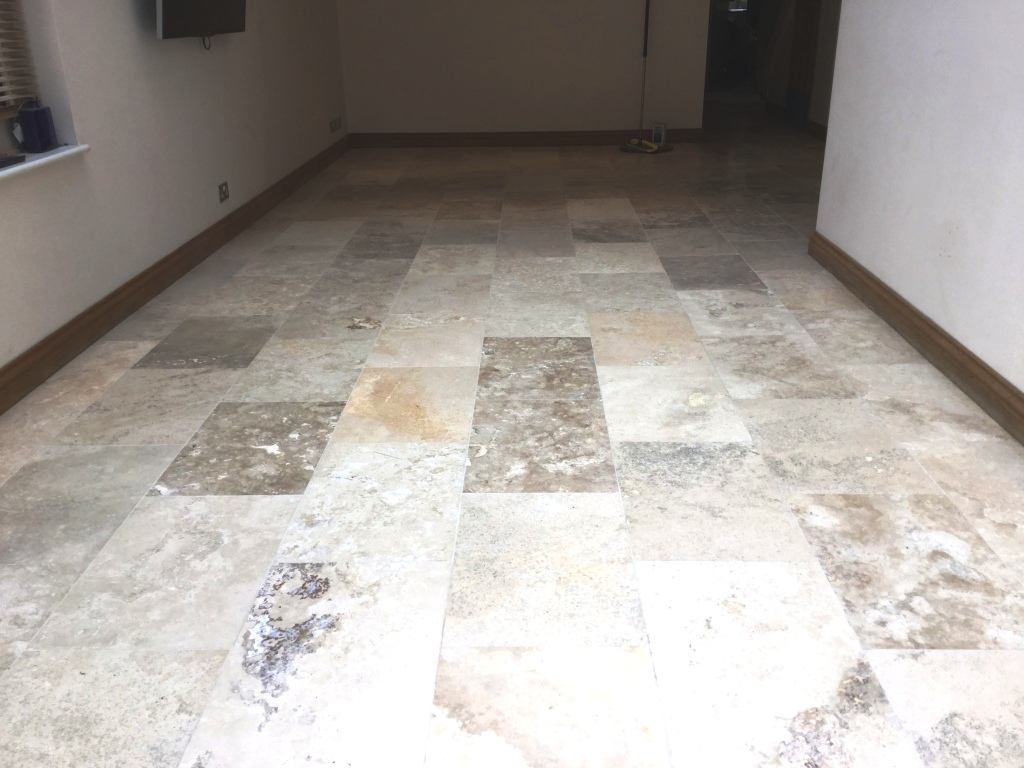 Travertine Tiled Floor Weston Favell After Polishing