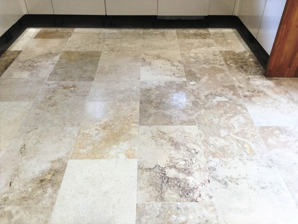 Travertine Tiled Floor Weston Favell After Polishing