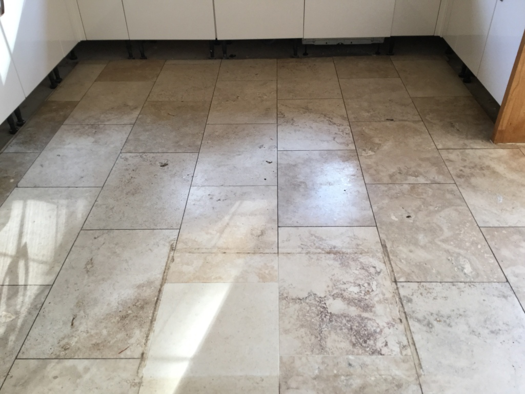 Travertine Tiled Floor Weston Favell Before Polishing