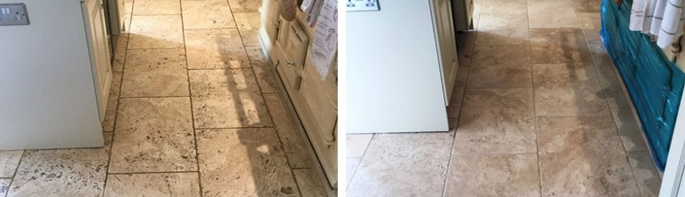 Pitted and Dirty Tumbled Travertine Kitchen Floor Renovated in Braybrooke
