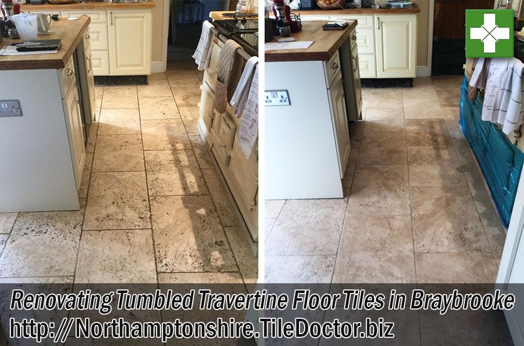 Tumbled Travertine Tiled Kitchen Floor Before After Renovation Braybrooke