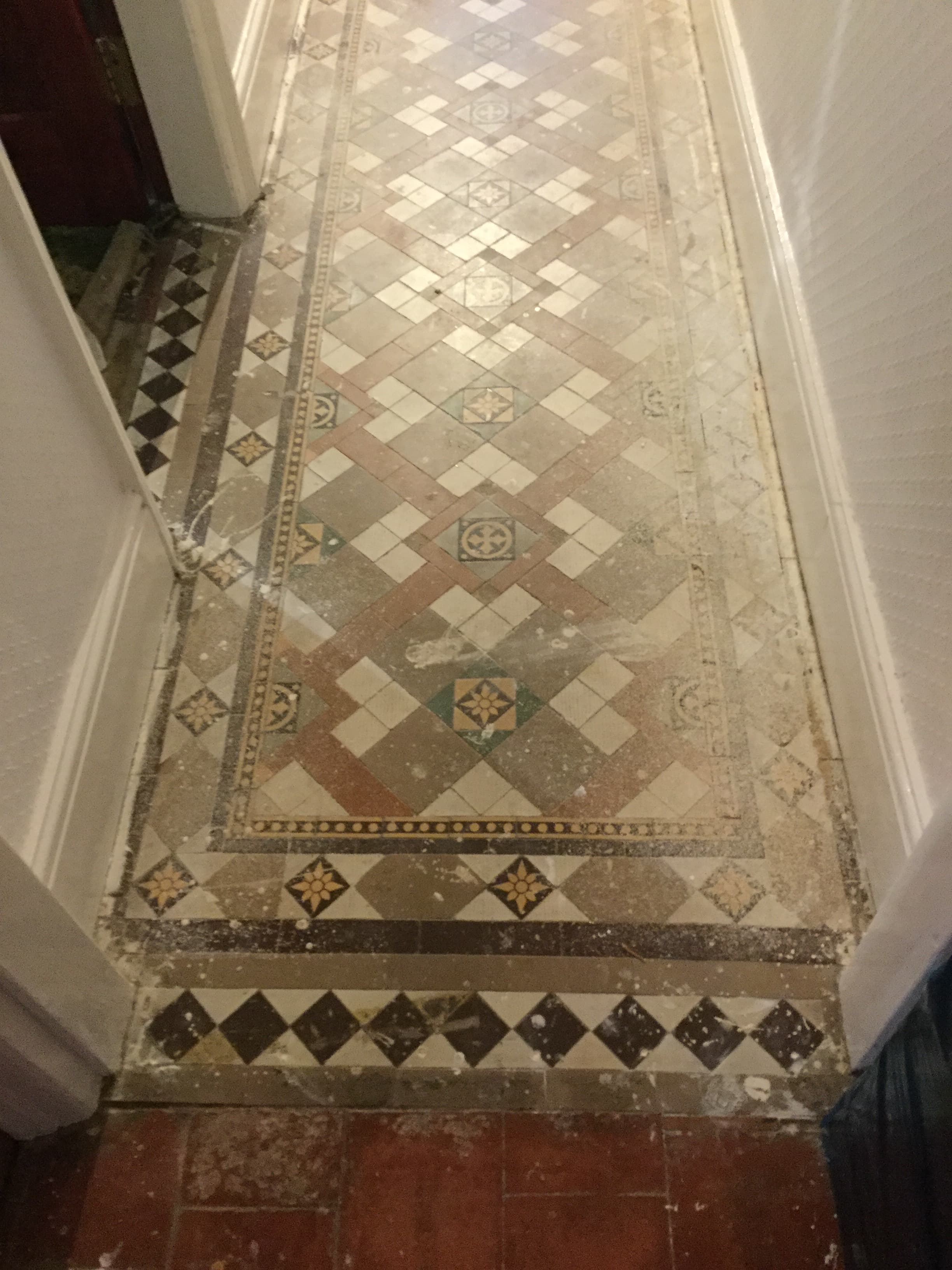 Victorian Tiled Hallway Before Cleaning Kettering