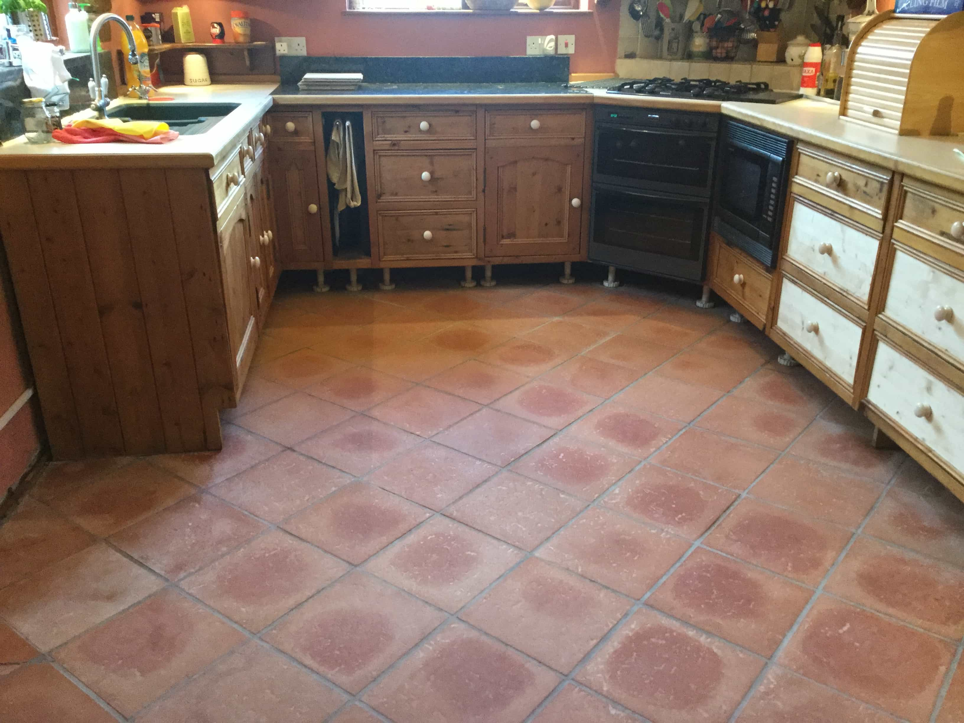 Terracotta Tiled Kitchen Floor After Cleaning Maidford