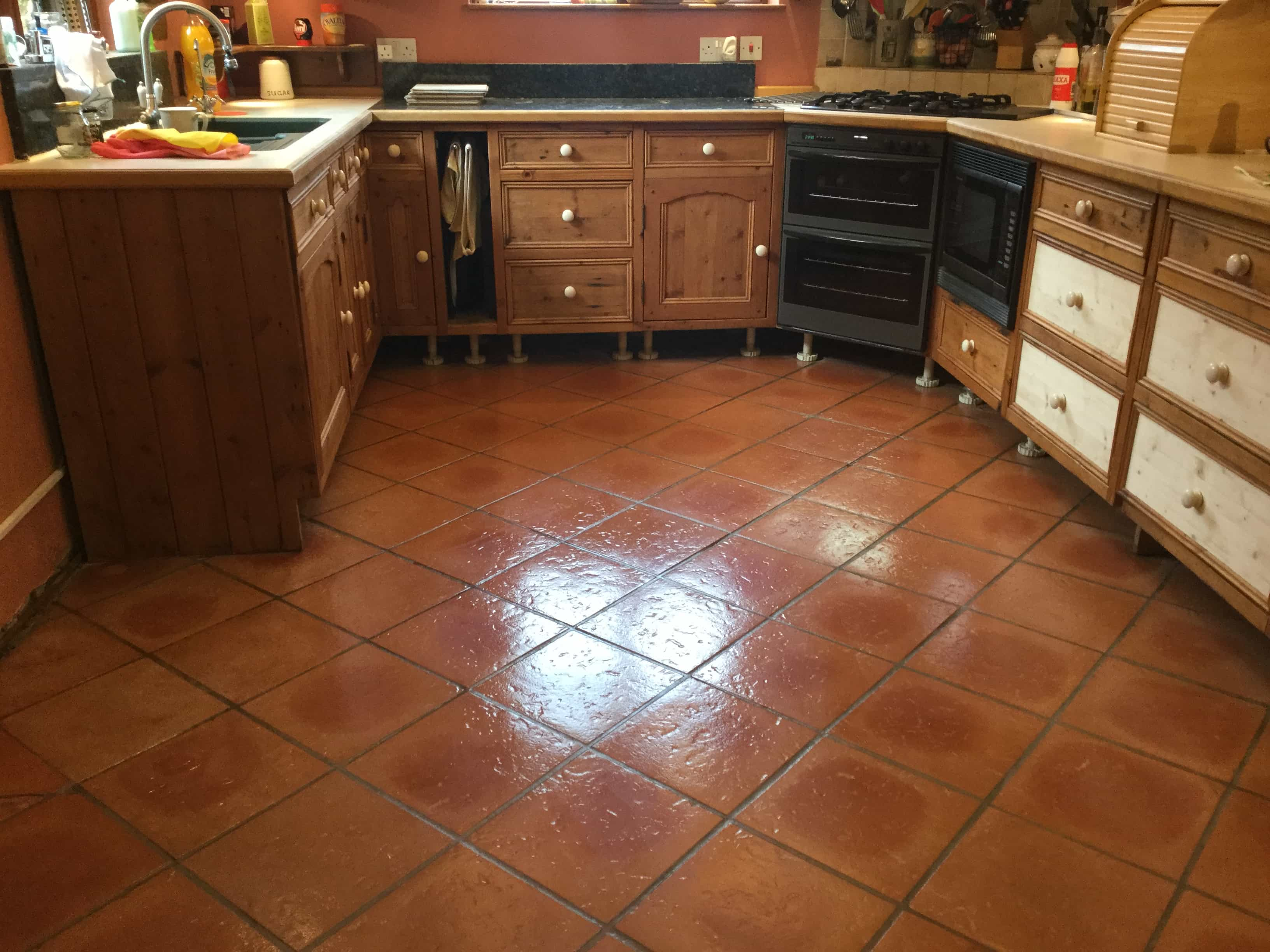 Terracotta Tiled Kitchen Floor After Sealing Maidford