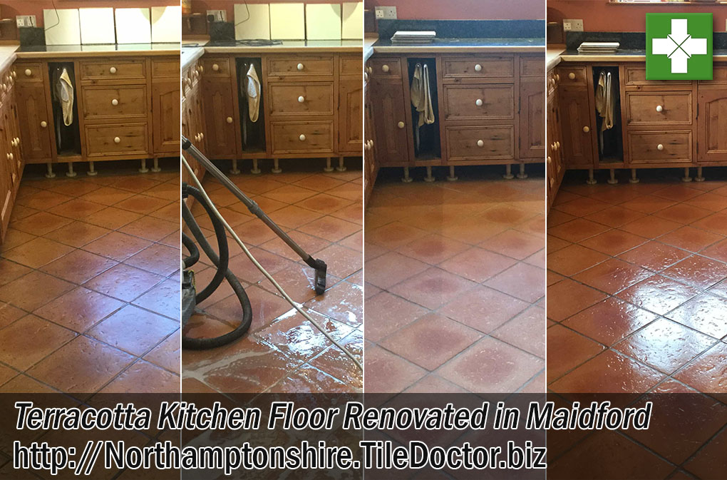 Terracotta Tiles Before After Deep Cleaning and Sealing Maidford