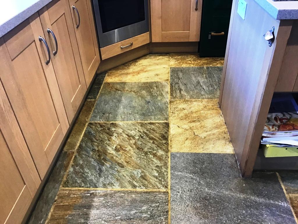 Chinese Riven Slate Kitchen Floor After Sealing Ravensthorpe