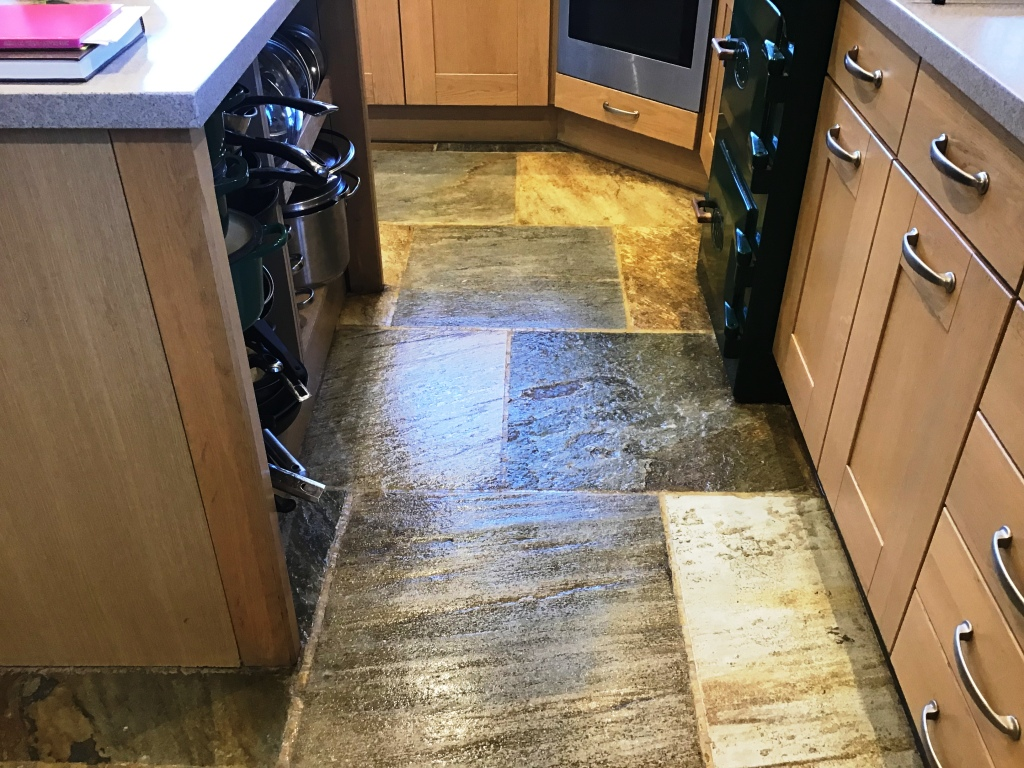 Chinese Riven Slate Kitchen Floor After Sealing Ravensthorpe