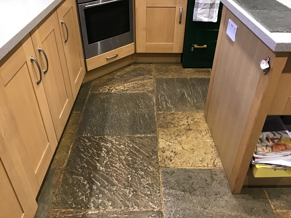 Chinese Riven Slate Kitchen Floor Before Cleaning Ravensthorpe
