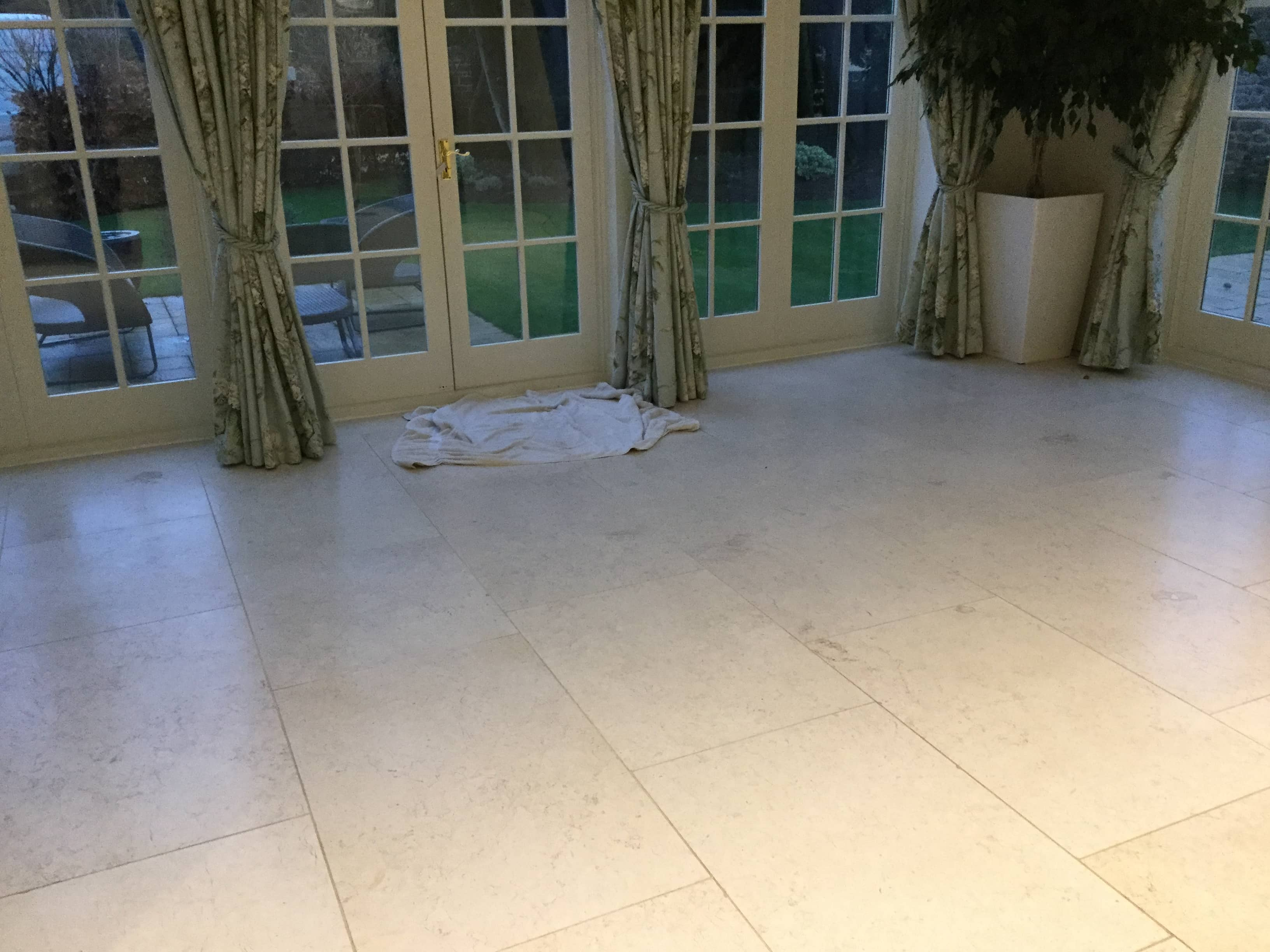 Limestone Tiled Dining Room Floor Before Renovation Ecton